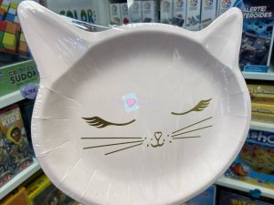 6 Assiettes Chat Rose