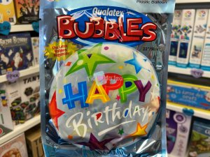 Ballon Bubbles Happy Birthday Etoiles