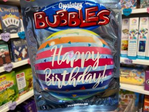 Ballon Bubbles Happy Birthday Rayures