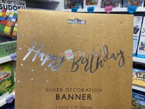 Bannière Happy Birthday Silver