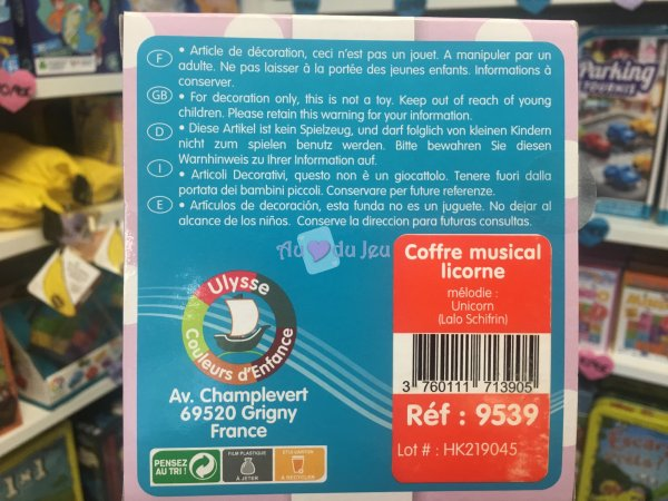 Coffre Musical Licorne