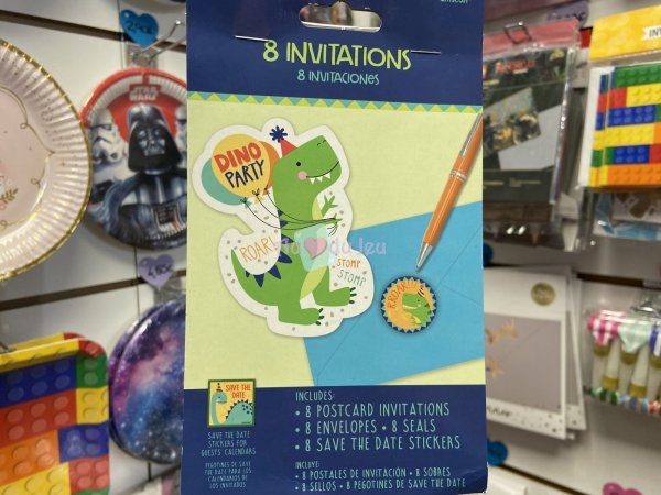 8 Invitations Dino Party