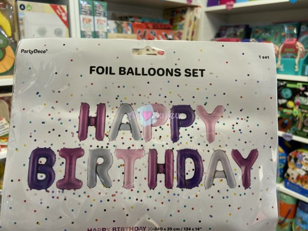 Ballon Lettres Happy Birthday Rose Violet