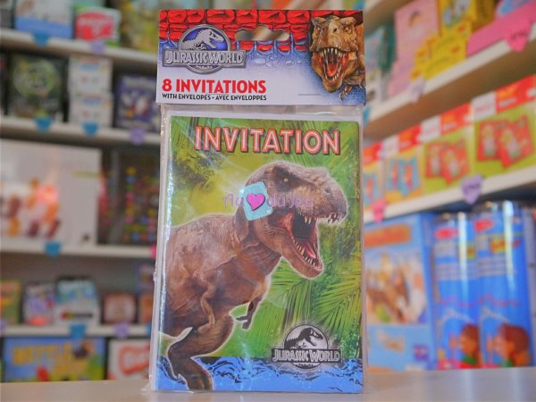 8 Cartes Invitations Jurassic World